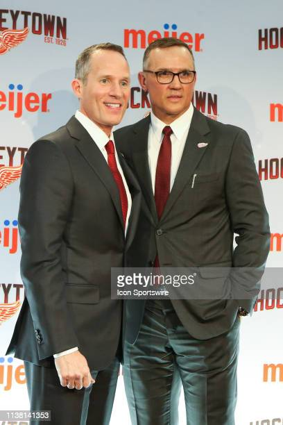 Detroit Red Wings Governor President and CEO Christopher Illitch and Steve Yzerman pose for photographs during a press conference to introduce Steve...