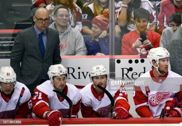 Detroit Red Wings head coach Jeff Blashill stands behind the bench during the game against the Washington Capitals on December 11 at the Capital One...