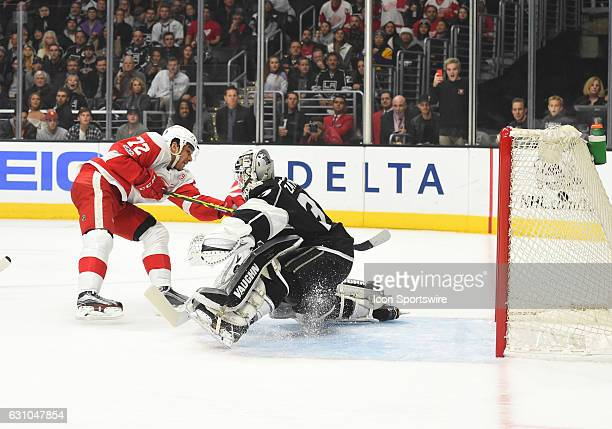 Detroit Red Wings Left Wing Andreas Athanasiou scores the Red Wings' second goal of the game in the first period against Los Angeles Kings Goalie...