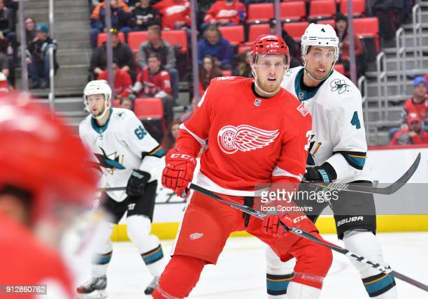 Detroit Red Wings Left Wing Anthony Mantha battles for position with San Jose Sharks Defenceman Brenden Dillon in the NHL hockey game between San...