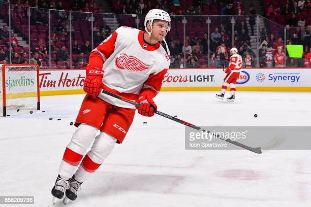 Detroit Red Wings Left Wing Anthony Mantha skates at warm up before the Detroit Red Wings versus the Montreal Canadiens game on December 2 at Bell...