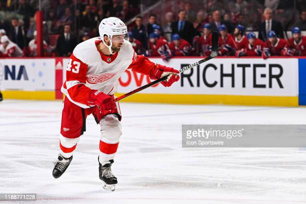 Detroit Red Wings left wing Darren Helm tracks the play on his left during the Detroit Red Wings versus the Montreal Canadiens game on December 14 at...