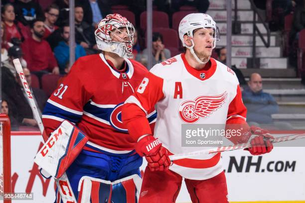 Detroit Red Wings left wing Justin Abdelkader tries to obstruct Montreal Canadiens goaltender Carey Price vision during the third period of the NHL...