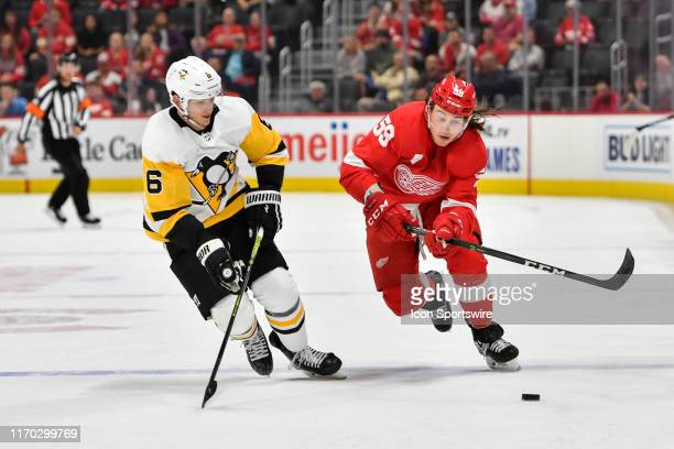 Detroit Red Wings left wing Tyler Bertuzzi and Pittsburgh Penguins defenseman John Marino battle for possession during the overtime period of a...