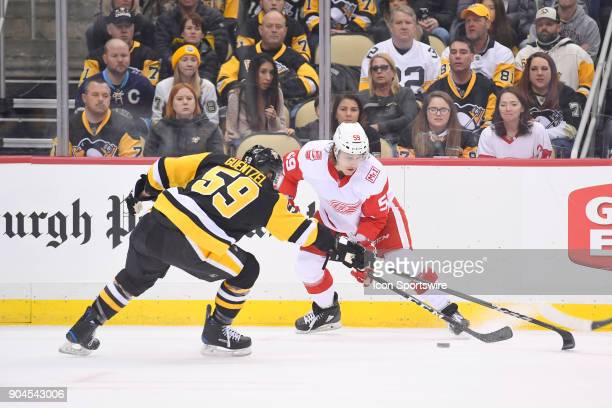 Detroit Red Wings Left Wing Tyler Bertuzzi plays the puck as Pittsburgh Penguins Left Wing Jake Guentzel defends during the first period in the NHL...