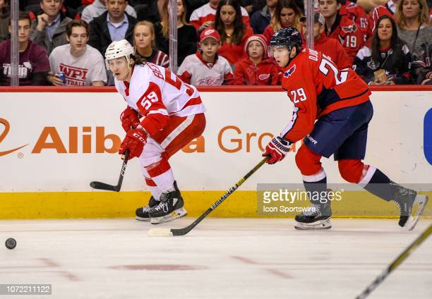 Detroit Red Wings left wing Tyler Bertuzzi skates in the first period against Washington Capitals defenseman Christian Djoos on December 11 at the...