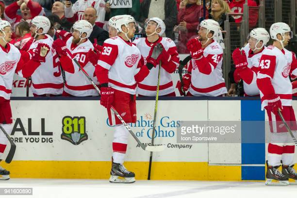 Detroit Red Wings right wing Anthony Mantha celebrates after scoring a goal in the first period of a game between the Columbus Blue Jackets and the...