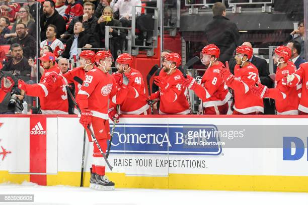 Detroit Red Wings right wing Anthony Mantha celebrates his goal with the bench during the Detroit Red Wings game versus the Montreal Canadiens on...