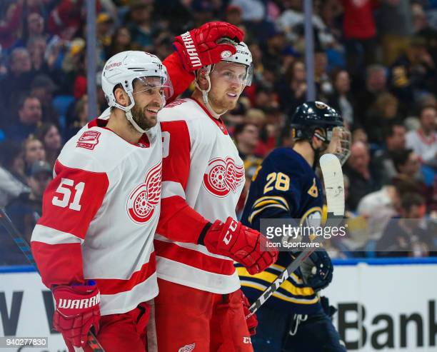Detroit Red Wings right wing Anthony Mantha is congratulated byDetroit Red Wings center Frans Nielsen after Mantha scored a goal during an NHL game...
