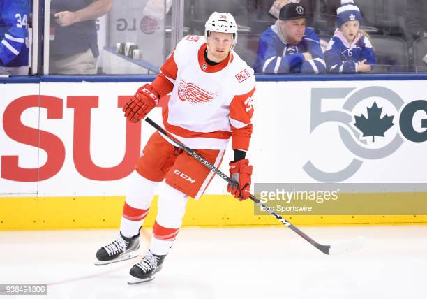 Detroit Red Wings right wing Anthony Mantha skates during the warm up before a game between the Detroit Red Wings and the Toronto Maple Leafs on...
