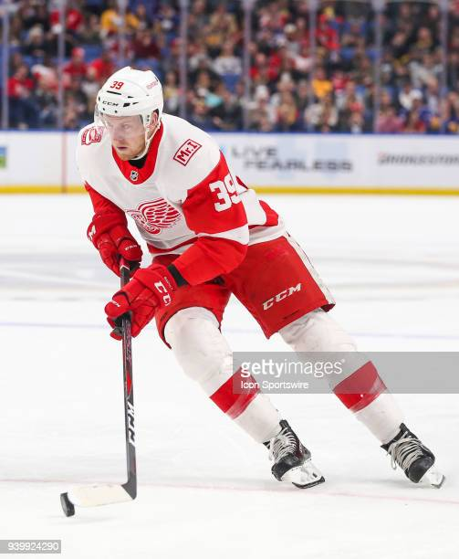 Detroit Red Wings right wing Anthony Mantha skates up ice during an NHL game between the Detroit Red Wings and Buffalo Sabres on March 29 2018 at the...
