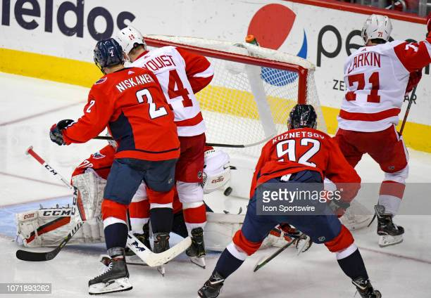 Detroit Red Wings right wing Gustav Nyquist scores in the third period against Washington Capitals goaltender Braden Holtby on December 11 at the...