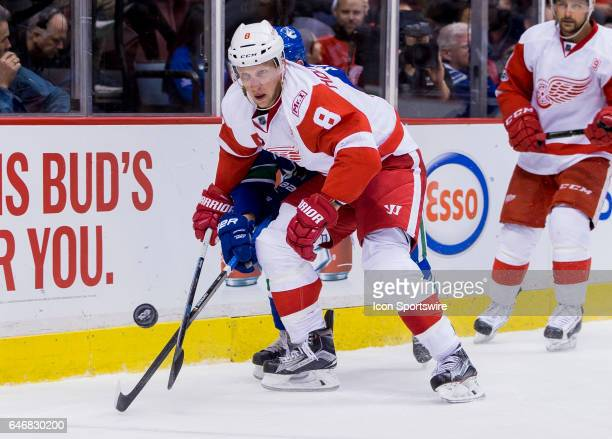 Detroit Red Wings Right Wing Justin Abdelkader checks Vancouver Canucks Defenceman Troy Stecher during a NHL hockey game on February 28 at Rogers...