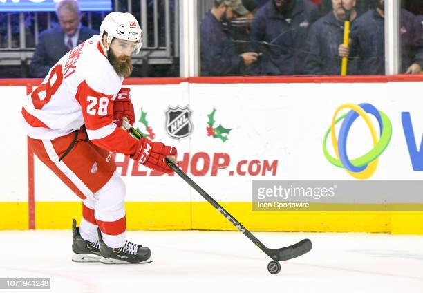 Detroit Red Wings right wing Luke Witkowski skates against the Washington Capitals in the second period on December 11 at the Capital One Arena in...