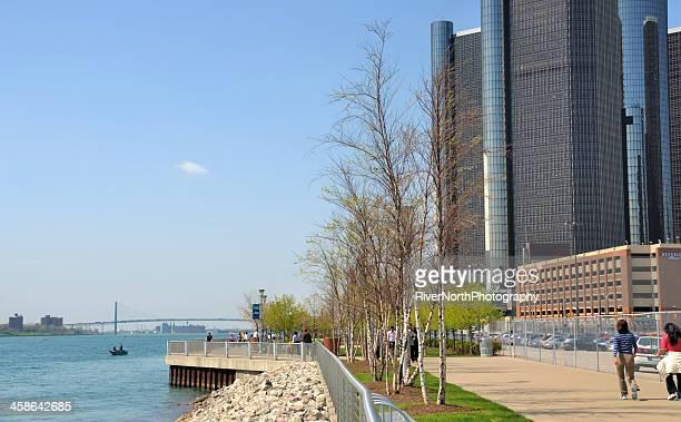 detroit riverwalk - detroit river stock photos and pictures