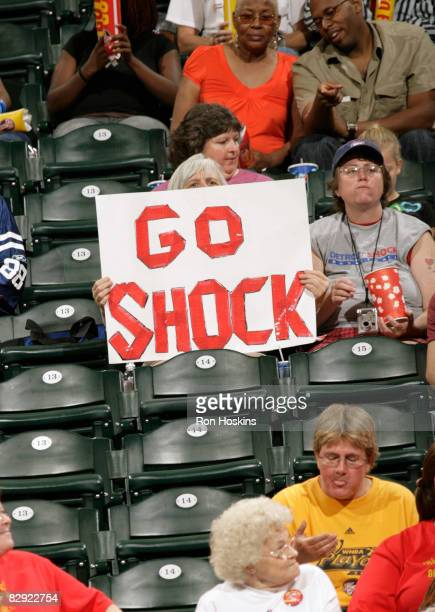 Detroit Shock fan shows her support as the Shock took on the Indiana Fever in Game One of the Eastern Conference Semifinals during the 2008 WNBA...
