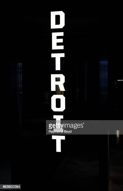 Detroit signage at Ford Field, home of the Detroit Lions football team in Detroit, Michigan on October 12, 2017.