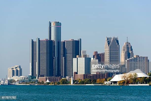 detroit skyline as seen from belle isle - detroit river stock photos and pictures