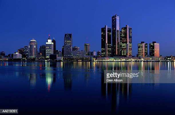 detroit skyline at night - detroit michigan stock pictures, royalty-free photos & images