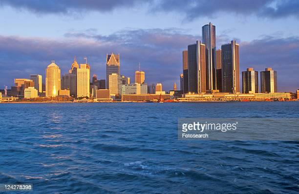 Detroit skyline at sunrise from Windsor, Canada