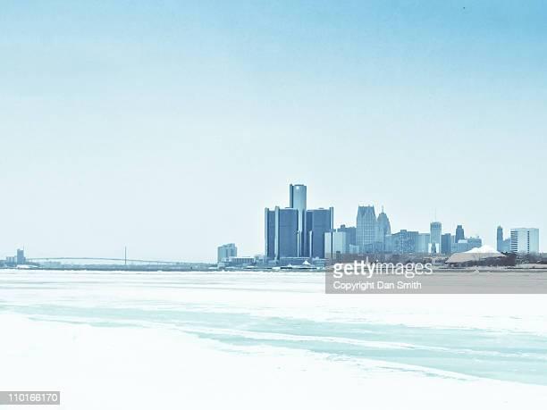 Detroit skyline at winter