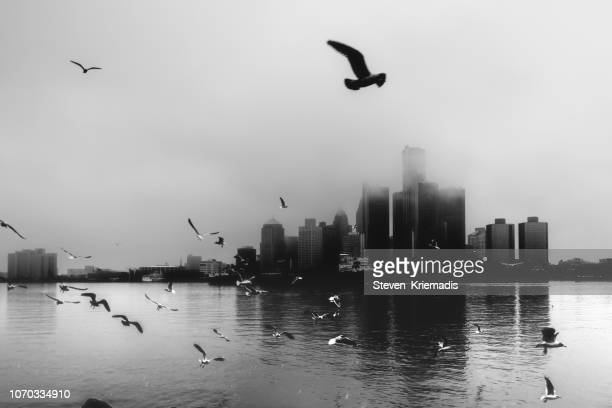 detroit skyline - winter mist - detroit river stock pictures, royalty-free photos & images