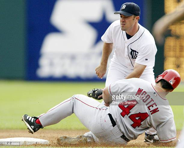 Detroit Tiger second baseman Warren Morris tags out Anaheim Angel Shawn Wooten during a stolen base attempt in the 3rd inning. Detroit won the game...