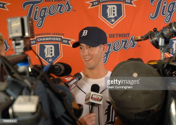 Detroit Tigers 2007 firstround draft pick Rick Porcello talks to the media at Comerica Park in Detroit Michigan on August 24 2007