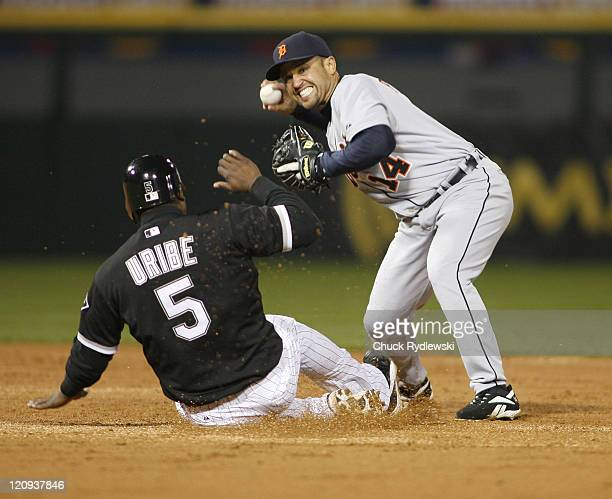 Detroit Tigers' 2nd Baseman Placido Polanco turns a double play during their game versus the Chicago White Sox April 25 2007 at US Cellular Field in...