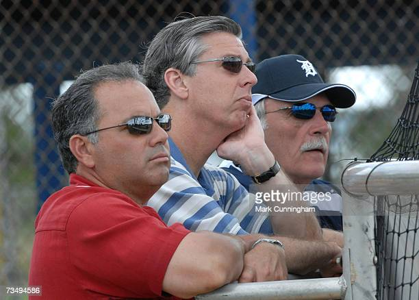 Detroit Tigers Assistant General Manager Al Avila, President Dave Dombrowski and manager Jim Leyland watch batting practice during Spring Training...