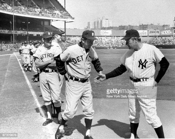 Detroit Tigers' boss Billy Martin refuses to shake hands with New York Yankees' manager Ralph Houk before game at Yankee Stadium