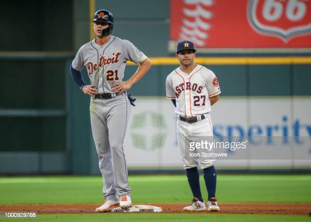 Detroit Tigers center fielder JaCoby Jones and Houston Astros second baseman Jose Altuve wait for play to begin during the baseball game between the...