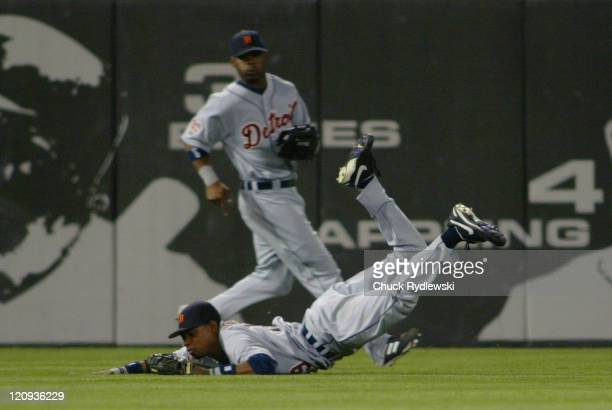 Detroit Tigers Center Fielder, Nook Logan, makes a circus catch during the game against the Chicago White Sox July 18, 2005 at U.S. Cellular Field in...
