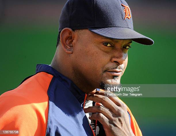 Detroit Tigers closing pitcher Jose Valverde works out with his team before the American League Championship Series against the Texas Rangers at...