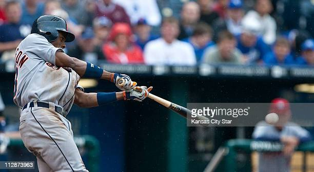 Detroit Tigers' Curtis Granderson connects on an RBI single in the ninth inning against the Kansas City Royals The Tigers defeated the Royals 131 at...