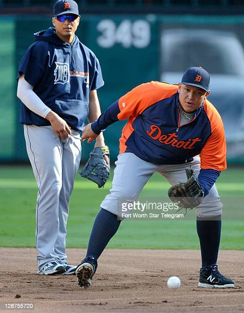 Detroit Tigers designated hitter Victor Martinez and first baseman Miguel Cabrera workout before the American League Championship Series against the...