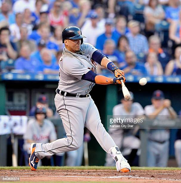 Detroit Tigers designated hitter Victor Martinez connects on his second home run of the game off Kansas City Royals starting pitcher Danny Duffy in...