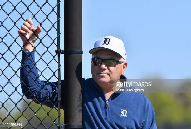 Detroit Tigers Executive Vice President of Baseball Operations and General Manager Al Avila looks on during Spring Training workouts at the TigerTown...