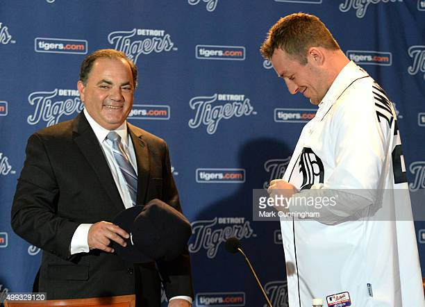 Detroit Tigers Executive Vice President of Baseball Operations and General Manager Al Avila looks on and smiles as new Tigers pitcher Jordan...