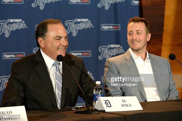 Detroit Tigers Executive Vice President of Baseball Operations and General Manager Al Avila looks on and smiles along with new Tigers pitcher Jordan...