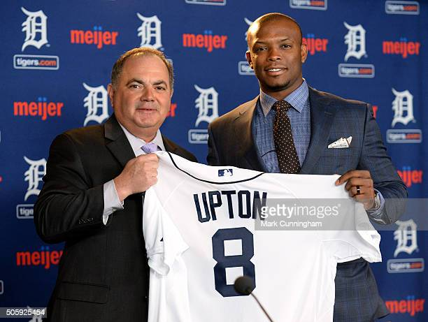 Detroit Tigers Executive Vice President of Baseball Operations and General Manager Al Avila poses for a photo with newest Tiger Justin Upton during...