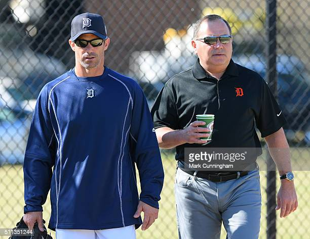 Detroit Tigers Executive Vice President of Baseball Operations and General Manager Al Avila and manager Brad Ausmus walk together during the Spring...