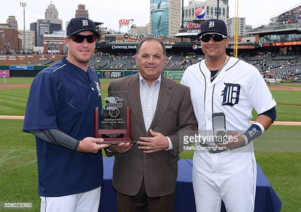 Detroit Tigers Executive Vice President of Baseball Operations and General Manager Al Avila presents Jordan Zimmermann with his American League...