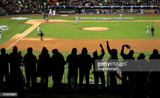 Detroit Tigers fans cheer during Game Three of the Major League Baseball World Series between the San Francisco Giants and the Detroit Tigers at...