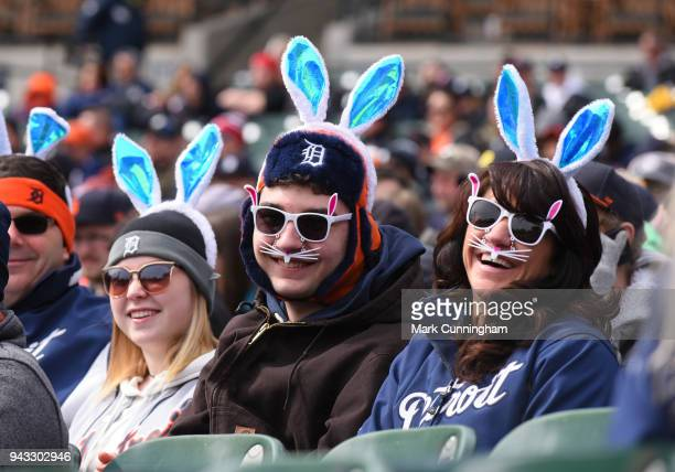Detroit Tigers fans dress up for game one of the Easter Sunday double header against the Pittsburgh Pirates at Comerica Park on April 1 2018 in...
