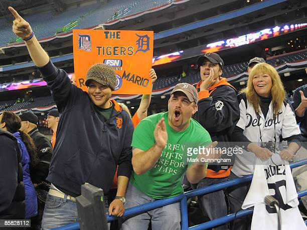 Detroit Tigers fans show their support before the opening day game against the Toronto Blue Jays at the Rogers Centre on April 6 2009 in Toronto...