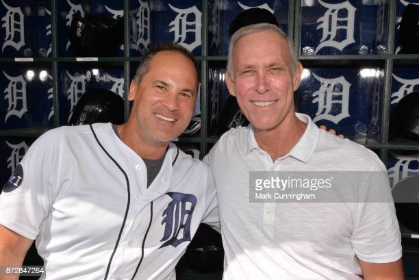 Detroit Tigers first base coach Omar Vizquel and former Tigers shortstop Alan Trammell pose for a photo prior to the game against the Los Angeles...