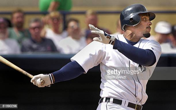 Detroit Tigers first baseman Tony Clark grounds out during the Tigers spring training game with the Cleveland Indians at Marchant Stadium in Lakeland...