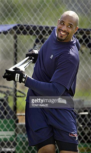 Detroit Tigers first baseman Tony Clark warms up with his bats before batting practice during spring training camp at Tiger Town in Lakeland FL 20...