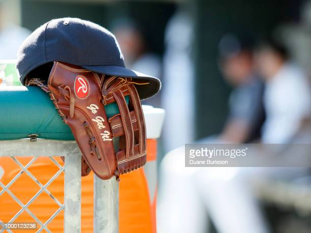 Detroit Tigers hat and glove during a game against the Texas Rangers at Comerica Park on July 7 2018 in Detroit Michigan